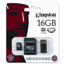 Memóriakártya, Micro SDHC, 16GB, Class 10, SD+USB adapterrel, KINGSTON