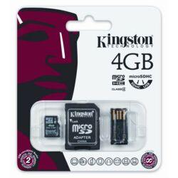 Memóriakártya, Micro SDHC, 4GB, Class 4, adapterrel és USB-s kártyaolvasóval, KINGSTON