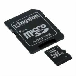 Memóriakártya, Micro SDHC, 8GB, Class 10, adapterrel, KINGSTON