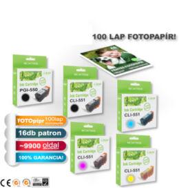 ►16+1db-os PAKK, Canon -hoz 16db i-Aicon PGI-550/CLI-551XL CHIPES utángyártott tintapatron (~9920 oldal) + 1 csomag 100 lapos FOTÓpapír