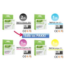 Epson -hoz ►5db◄ T071x utángyártott tintapatron PAKK (T0715,TO715) (≈2000oldal)