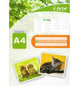 Fotópapír , tintasugaras nyomtatókhoz, A4-es (~210*297mm), fényes felületű, gyorsan száradó, 115g/m², 100lap/csomag i-AICON  (albumba/keretbe szánt fotókhoz, igényes dokumentumokhoz)