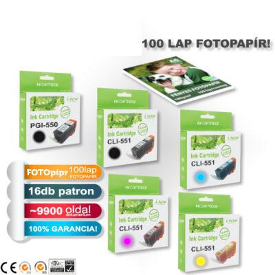 16+1 PAKK, Canon -hoz ►16+1db-os◄ i-Aicon PGI-550/CLI-551XL +1 FOTOpapír CHIPES utángyártott tintapatron-pakk (~9920 oldal)
