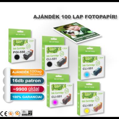 Ajándék 100db A6-os fotopapír Canon -hoz ►16db-os◄ i-Aicon PGI-550/CLI-551XL CHIPES utángyártott tintapatron-pakk (~9920 oldal)