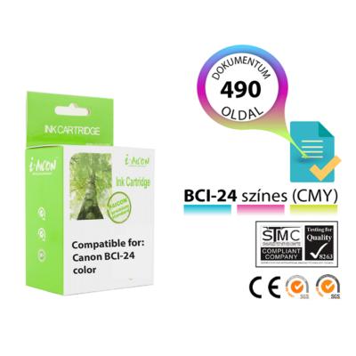 CANON -hoz i-AICON BCI24 C.M.Y. színes magas minőségű utángyártott tintapatron (kb. 490 oldalas)