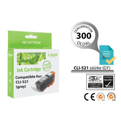 Canon -hoz, i-Aicon  CLI-521GY szürke chipes utángyártott tintapatron ~300 oldalas