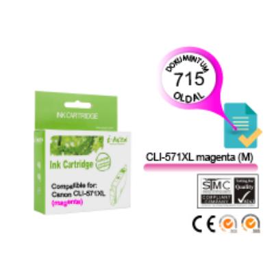 Canon -hoz, i-AICON™ CLI-571XL M (magenta) CHIPES utángyártott tintapatron (~715 oldal, 13ml)