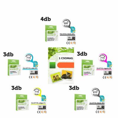 ►16+1db-os PAKK, Canon -hoz 16db i-AICON™ PGI-570XL / CLI-571XL CHIPES utángyártott tintapatron (~10865 oldal) + 1 csomag 100 lapos FOTÓPAPÍR
