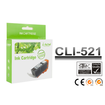 Canon -hoz, i-Aicon  CLI-521Bk fekete chipes utángyártott tintapatron ~300 oldalas (cli521)
