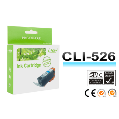 Canon -hoz, i-Aicon  CLI-526 C (cián) utángyártott tintapatron !CHIPES! ~450 oldalas