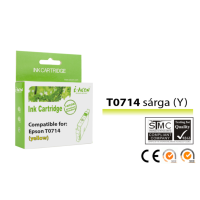 Epson -hoz, i-Aicon  T0714 (T0894) sárga utángyártott tintapatron (to714)V6.0 (≈400oldal)