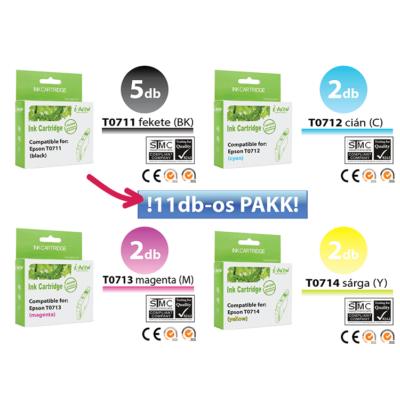 ►11db-os Epson -hoz i-Aicon  T071x utángyártott tintapatron irodaPAKK (≈4400oldal)
