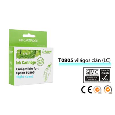Epson -hoz, i-Aicon  T0805 LC világos cián kompatibilis tintapatron (T0795) (≈400oldal)