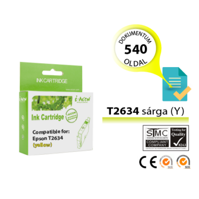 Epson -hoz, i-Aicon  T2634 15,5 ml (Epson 26XL) sárga utángyártott tintapatron (~540 oldal)  (T2614)