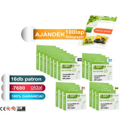 AJÁNDÉK fotopapír! Epson -hoz 16db-os T044x I-AICON utángyártott tintapatron-pakk (to44) (≈7680oldal)