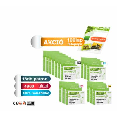 ►16+1db-os PAKK, Epson -hoz i-Aicon 16db T128x  utángyártott tintapatron (≈4800oldal) + 1 csomag 100 lapos FOTÓpapír