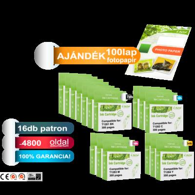 Ajándék 100 lap fotópapír! Epson -hoz  16db-os◄ i-Aicon  T128x  utángyártott tintapatron PAKK  (≈4800oldal)