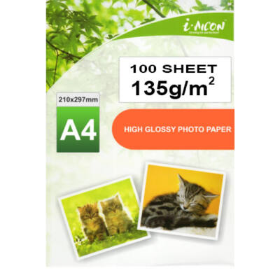 Fotópapír , tintasugaras nyomtatókhoz, A4-es (~210*297mm), fényes felületű, gyorsan száradó, 135g/m², 100lap/csomag i-AICON  (albumba/keretbe szánt fotókhoz, igényes dokumentumokhoz)