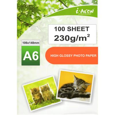Fotópapír tintasugaras nyomtatókhoz, A6-os (~105*148mm), fényes felületű, gyorsan száradó, 230g/m², 100lap/csomag i-AICON (vastag, gyakori fizikai igénybe vételű fotókhoz)