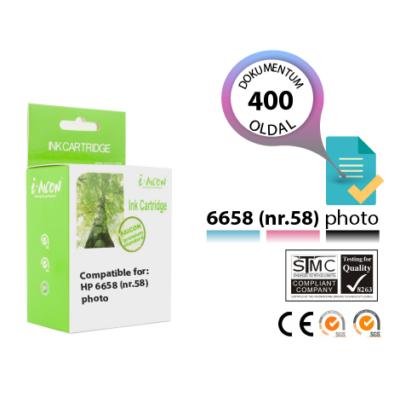 HP -hez Nr.58 (C6658A) utángyártott fotó színes tintapatron, ~400 oldal (fekete patron helyére kell tenni)