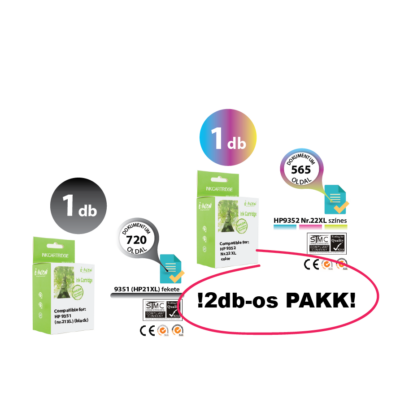HP -hez 2db-os Nr.21XL/22XL (C9351C/C9352C) utángyártott (fekete-színes) tintapatron PAKK, ~1285 oldal