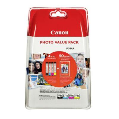 Canon CLI-571XL BCMY eredeti 4db-os tintapatron multipakk+50db fotópapír, ~2955 oldal*