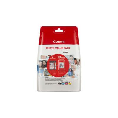 Canon® CLI-581 BCMY eredeti 4db-os tintapatron multipakk+50db fotópapír (2106C005)