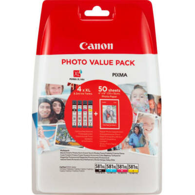 Canon® CLI-581XL BCMY eredeti 4db-os tintapatron multipakk+50db fotópapír (2052C004)