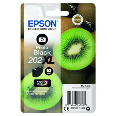 Epson 202XL (T02H1) eredeti fotó fekete XL tintapatron, ~800 oldal