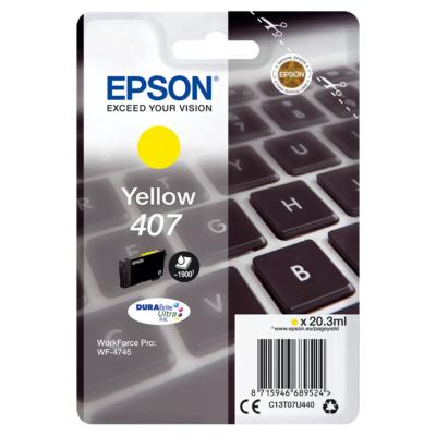 Epson Nr.407 eredeti sárga tintapatron (C13T07U440) 20,3ml (≈1900 oldal)
