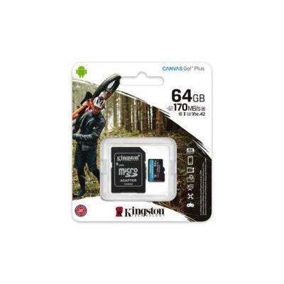 "Memóriakártya, Micro SDXC, 64GB, Class 10/U3, SD adapterrel, ""Canvas Go! Plus"" KINGSTON"