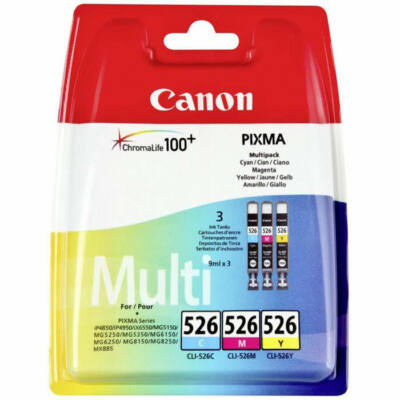 Canon® CLI-526CMY eredeti (cián-magenta-sárga) tintapatron multipakk, ~3x450 oldal (cli526)