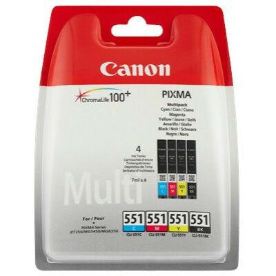 Canon® CLI-551 BCMY eredeti (fekete-cián-magenta-sárga) tintapatron multipakk, ~4x300 oldal (cli551)