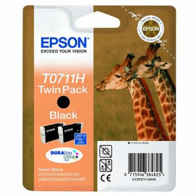 Epson T0711H eredeti fekete tintapatron duplapakk,  ~660 oldal (T07114H10)