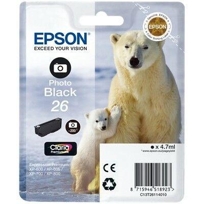 Epson T26114010 (26) eredeti fotofekete tintapatron (≈200oldal)
