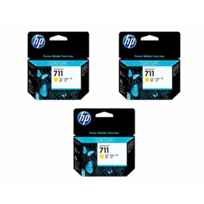 HP Nr.711 (CZ136A) eredeti sárga tintapatron triopakk, ~2610 oldal