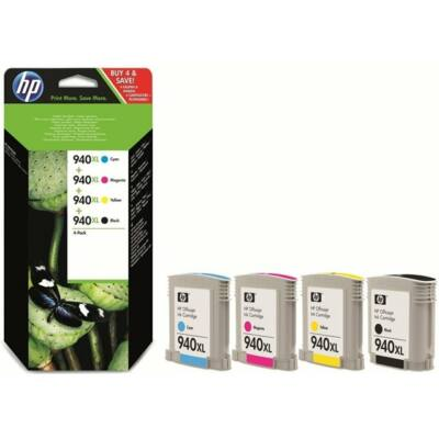 HP Nr.940XL (C2N93A) eredeti (fekete-cián-magenta-sárga) tintapatron multipakk, ~6400 oldal