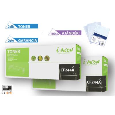 2+1DB-os PAKK, HP-hoz, ◄CF244A 2DB utángyártott toner◄ +1 csomag (100db) lefűzhető genotherm (bugyi)
