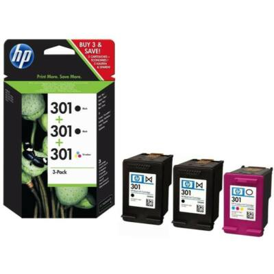 HP Nr.301 (E5Y87EE) eredeti (2db fekete+1db színes) tintapatron multipakk, ~545 oldal
