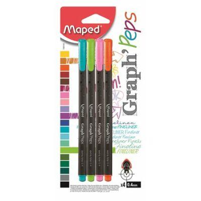 """Tűfilc készlet, 0,4 mm, MAPED """"Graph`Peps"""", 4 különböző vidám szín (Maximum 2 csomag rendelhető)"""