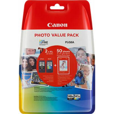 Canon® PG-540XL/CL-541XL eredeti (fekete+színes) tintapatron multipakk+50db fotópapír, ~600/400 oldal