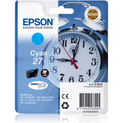 Epson T2702 (Nr. 27) cián eredeti tintapatron (≈300oldal)