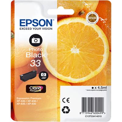 Epson Nr.33 (T3341) eredeti foto fekete tintapatron, ~200 oldal