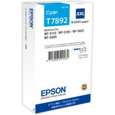 Epson T7892 XXL cián eredeti tintapatron 4K (≈4000oldal)
